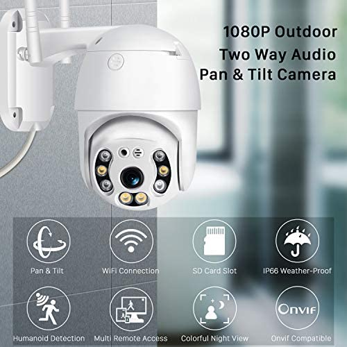 Pan Tilt Outdoor Security Camera, 1080P Home WiFi IP Camera, Pan Tilt Dome Surveillance Cam, Two Way Audio Motion Detection Clear Night Vision Onvif Waterproof CCTV Camera Support Max 128G SD