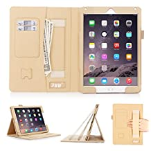 [Luxurious Protection] iPad Air 2 Case Cover, fyy Premium Leather Case Stand Cover with Card Slots, Pocket, Elastic Hand Strap and Stylus Holder for iPad Air 2 Gold (With Auto Wake/Sleep Feature)