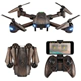 Foldable Drone, Fansteck RC Quadcopter Drone Kit, One Key Take Off & Land / WIFI FPV Drones with Camera 720P HD / Altitude Hold / Headless Mode / 2 Batteries, 2.4Ghz 4 Channel 6-Axis Gyro Bronze