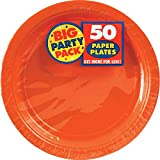 Toys : Amscan Big Party Pack 50 Count Paper Dessert Plates, 7-Inch, Orange