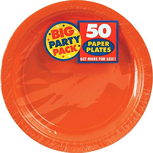 Amscan Big Party Pack 50 Count Paper Dessert Plates, 7-Inch, Orange