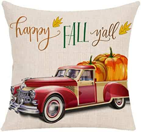 Throw Pillow Covers Maple Pumpkin Cushion Case Linen for Sofa Hollween Couch 1 PCS