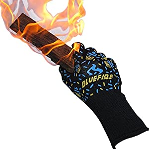 BlueFire Pro Oven Gloves, BBQ Gloves - Grilling Big Green Egg & Fireplace Accessories. Cut Resistant, Forearm Protection -100% Kevlar 932°F Heat Resistance