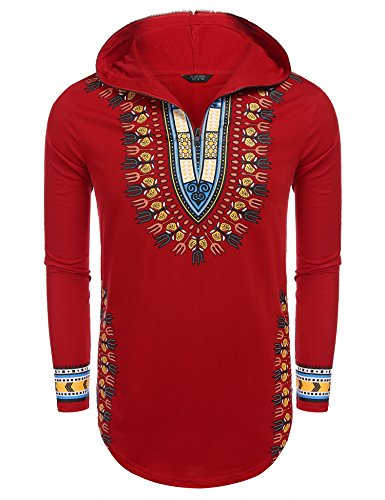 Red Dashiki - COOFANDY Men's Hip Hop Tribal Style African Dashiki Hoodie Sweatshirts, Red, Large