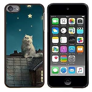 Gato blanco Estrellas- Metal de aluminio y de plástico duro Caja del teléfono - Negro - iPod Touch 6