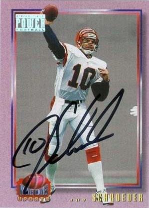Autograph Warehouse 20107 Jay Schroeder Autographed Football Card Cincinatti Bengals 1993 Pro Set Power Football No. 36