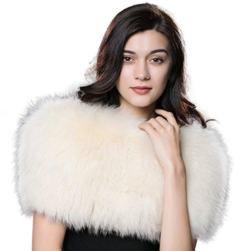 URSFUR Winter Fur Pashmina Women Real Fox Scarves Fur Shawl Cape Multicolor by URSFUR