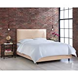 Skyline Furniture Nail Button Border Full Bed in Linen Navy