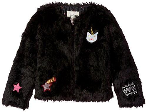 Big Kids Jet (Jessica Simpson Big Girls' Mercury Super Cute Furry Jacket, Jet Black, Small)