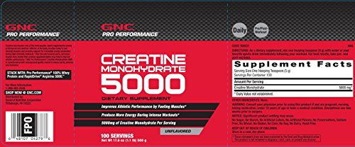 GNC Pro Performancereg Creatine Monohydrate 1 lbs.