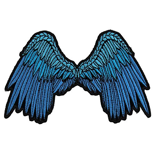 Angel Iron (Small Beautiful Angel Wings Blue Patch - 5x3 inch. Embroidered Iron on Patch)