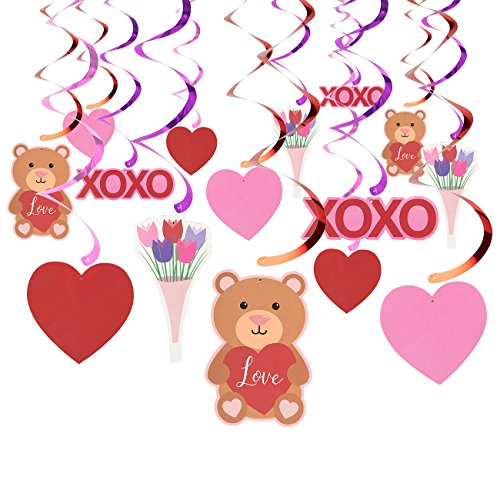 Blue Panda Valentine's Day Decorations, Hanging Heart Swirls (36 Inches, 5 Designs, 30-Count)