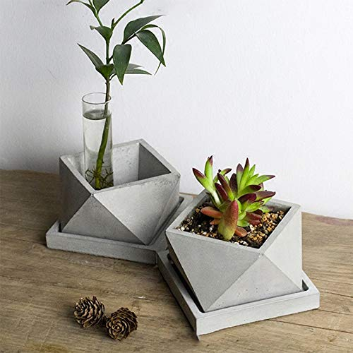 Geometric Polyhedron Silicone Cement Mold for Concrete Flowerpot Making Mould Handmade Craft Bonsai Tool - by Zan