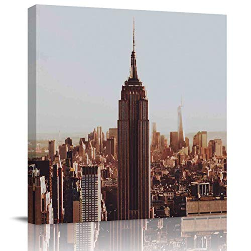 BULING Canvas Wall Art Canvas New York Cityscape,Empire State Building 20x20 inch Artwork Prints for Home Living Room Bedroom Wall Decor Framed Ready to Hang