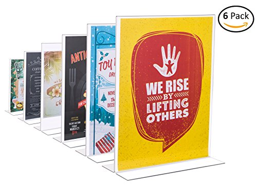 """Acrylic Sign Holders 8.5"""" x 11"""" (Pack of 6) Clear, Sturdy Tabletop T-Shaped Plastic Sign Holders (Tabletop Sign Holders)"""