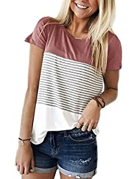 Women's Tops Short Sleeve Round Neck Striped Color Block...