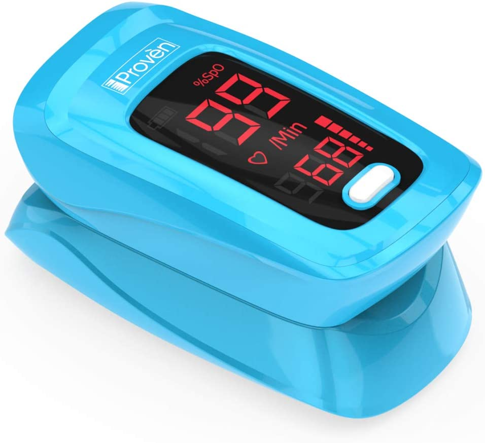 New Version iProven Pulse Oximeter Fingertip – Oxygen Saturation Monitor – with Heart Rate Detection – incl. Batteries, Case and Lanyard – iProven OXI-27 Blue
