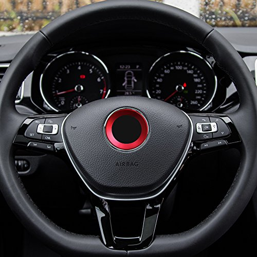 etopmia Aluminium Trim Car Steering Wheel Logo Sticker fit VW Volkswagen Golf 6 Golf 7 Polo Tiguan Passat B7 Touran Scirocco Beetle