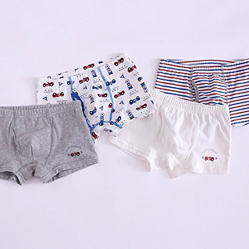 Feicuan Boys Briefs Toddler Underwear Kids Boxer Trunk Underpants Shorts Pants Cotton 4 Pack 3-10 Years