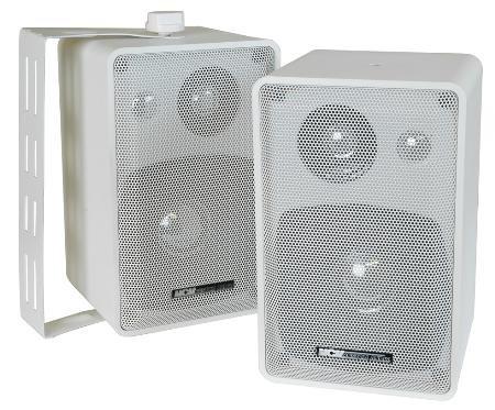 MCM Custom Audio 50-10546 INDOOR OUTDOOR SPEAKER PAIR 3 WAY WHITE 4 INCH