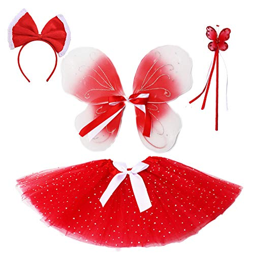 Sparkly Sequin Tutu Outfit for Girls Costume Set Love Birthday Party Gift Set (Sparkly red Tutu)