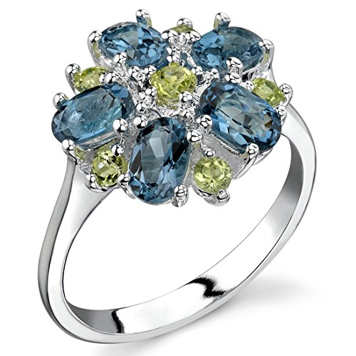 Peridot and London Blue Topaz Flower Ring Sterling Silver 3.25 Carats Size 7 from Peora