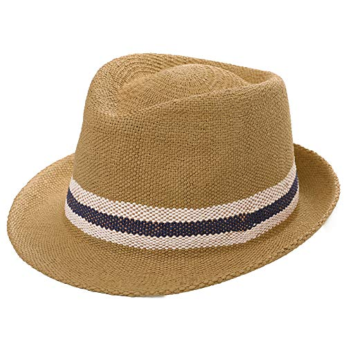 - Womens Mens Straw Cuban Fedora Brim Panama Beach Crushable Packable Havana Summer Sun Hat Lady Party Khaki