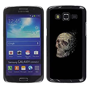 Ihec Tech Cráneo abstracto Significado Negro Muerte / Funda Case back Cover guard / for Samsung Galaxy Grand 2
