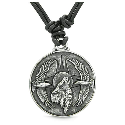 BestAmulets Amulet Howling Wolf Eagles Wild Moon Powers Charm Leather Pendant Necklace
