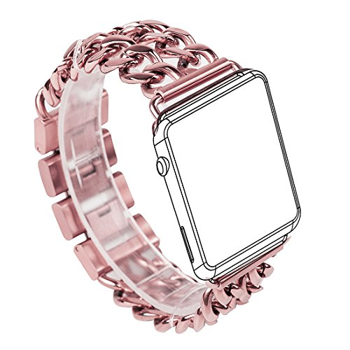 For Apple Watch Band, Wearlizer Stainless Steel Watch Band Replacement Strap for Both Apple Watch Series 1 and Series 2 - 38mm Pink Rose Gold(Exactly Match Color)