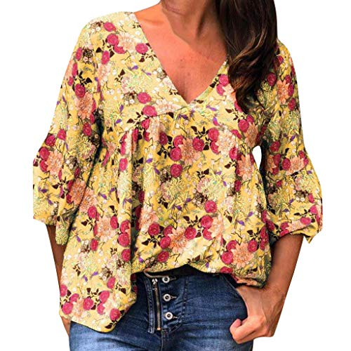 LONGDAY Women V-Neck Summer Swing Shirt Half Sleeve Casual T-Shirt Floral Print Ladies Tunic Top Ruched Loose Blouse Yellow