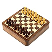 Staunton Chess Set with Wooden Magnetic handcrafted Rosewood Pieces and Inlaid Drawer