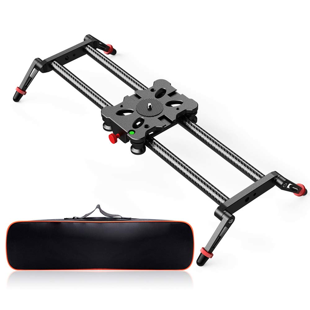 FOSITAN 23.6 inches//60 centimeters Track Camera Slider Carbon Fiber Track Dolly Slider with Load up to 17.6 pounds for DV Video Camcorder Stabilize Film Photography DSLR Camera