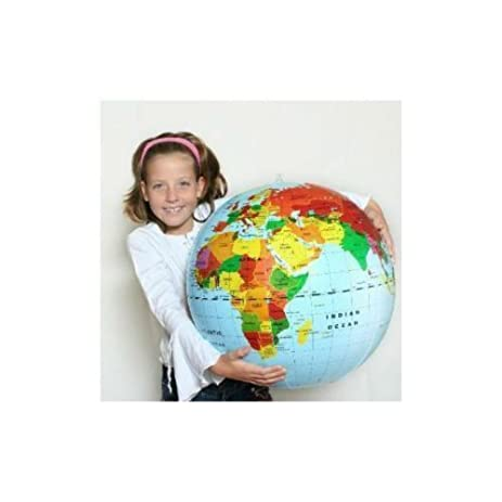 Amazon inflatable 20 world earth map globe ball education and inflatable 20quot world earth map globe ball education and teachers aid gumiabroncs Choice Image