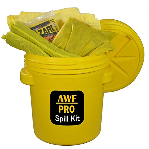 "20 Gallon Hazmat Spill Kit Includes Overpack Drum,12 Pads 15""x19"", 9 Socks 3""x4', 2 Pillows 18""x18"", Chemical Gloves, 3 Hazmat Bags, Safety Goggles, Emergency Guide Book,Spill Kit Sign (Overpack Spill Kit)"