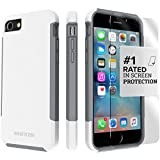 iPhone 8 Case and iPhone 7 Case, SaharaCase Inspire Protection Kit Bundle with [ZeroDamage Tempered Glass Screen Protector] Dual Layer Rugged Shockproof Bumper - Gray White