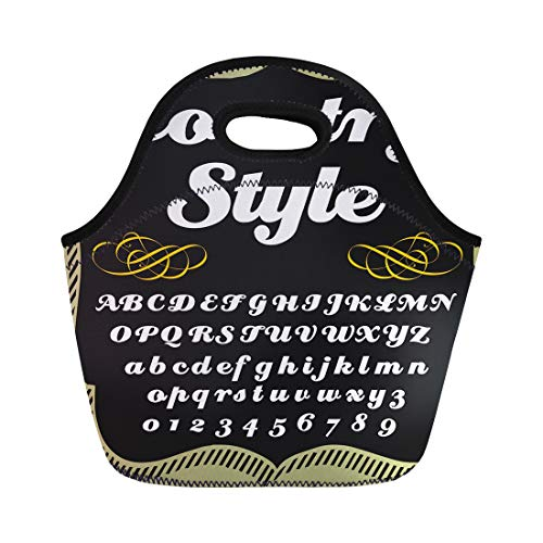 Semtomn Lunch Bags 123 of Retro Abc Fonts Alphabet Letters and Numbers Neoprene Lunch Bag Lunchbox Tote Bag Portable Picnic Bag Cooler Bag