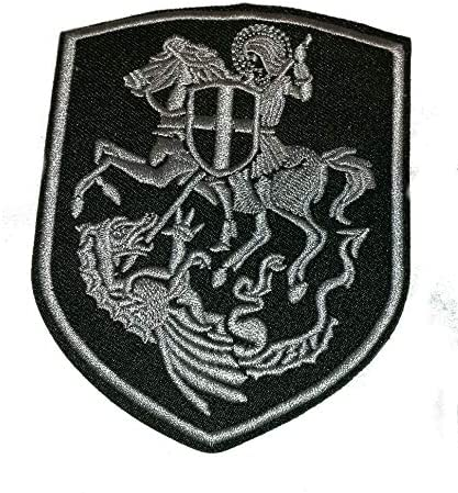 St.George On Horse Slaying Dragon Cross Shield Embroidered Iron On Patch 7.7 x 10 cm