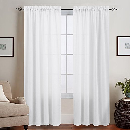 Casual Weave Textured Semi Sheer Curtains for Bedroom, Privacy Rod Pocket 95 Inches Long Thick White Window Treatments 2 Panels