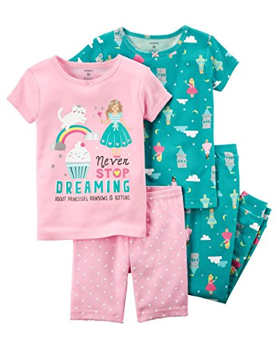 (Carter's Girls' 6M-12 4 Piece Princess Pajama Set 2T, Turquoise/Graphic)
