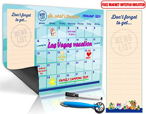 Magnetic Dry Erase Monthly Calendar Kit for Refrigerator - Includes Magnet Board/ (Magnetic Strips Planning Kit)