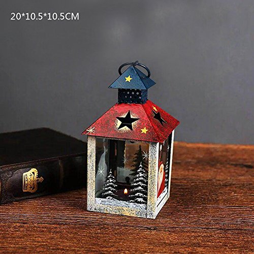 Christmas Santa Candle Holder (Christmas Lantern Candle Holder White Santa Claus And Snowman Decorative ( Include LED Lamp ) Green (Red))