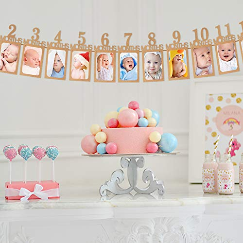 Koogel 1st Birthday Banner, Happy Birthday Photo Banner First Birthday Decoration for for Newborn to 12 Months Baby Party Decor