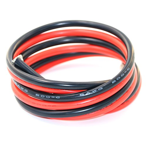 8 Awg Wire - BNTECHGO 8 Gauge Silicone Wire 6 feet [3 ft Black And 3 ft Red] High Temperature Resistant Soft and Flexible 8 AWG Silicone Wire 1650 Strands of Tinned Copper Wire