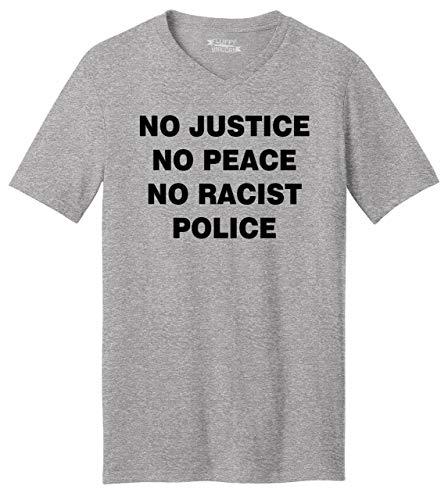 Men's V-Neck Tee No Justice No Peace No Racist Police Black Lives Rally Tee Heather Grey 3XL (No Justice No Peace No Racist Police Shirt)