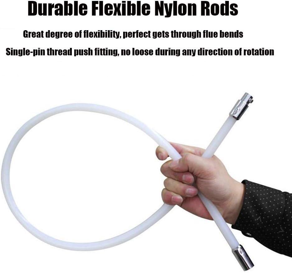 LYBW Limpieza Chimeneas Kit Tubos De Chimeneas Deshollinadores Multifuncion Cepillos Hogar Barrido con 6 Varillas Flexibles