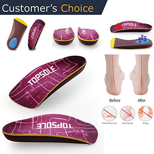 3/4 Insert Insole for Foot Pain from Plantar Fasciitis, High Arch,Flatfoot,Over-Pronation, Compound Orthopedic Arch Support Insole (Best Walking Shoes For Pronation Control)