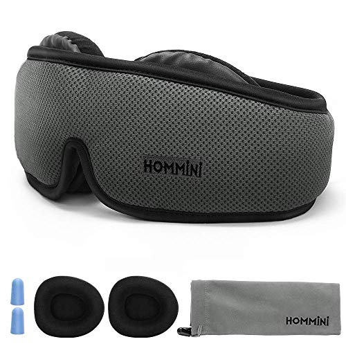 Sleep Mask, HOMMINI Eye Mask for Sleeping 3D Breathable Memory Foam Contoured Modular Nap/Travel/Shift Work Sleeping Mask, Light Blackout with Adjustable Anti-Slip/Ear Plugs for Men Women Kids ()