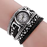 Malltop Vintage Bling Crystal Braided Winding Wrap Chain Bracelet Dial Quartz Wrist Analog Watch Pretty Gift for Teenager