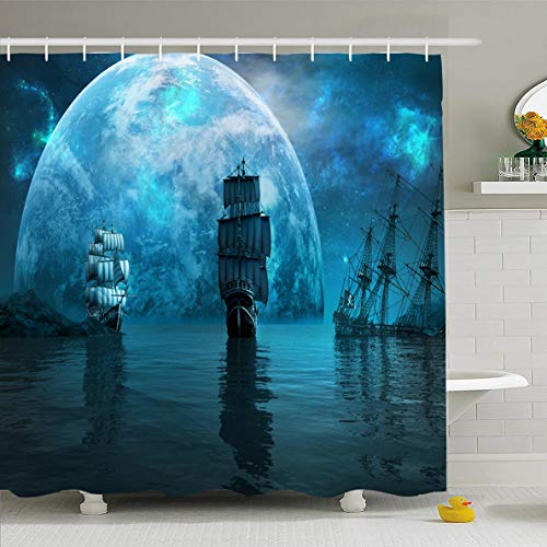 Ahawoso Shower Curtain 72x72 Inches Shipwreck Two Sailing Ships Huge Ship Blue Planet Pirate Sea Night Ocean Waterproof Polyester Fabric Set with Hooks